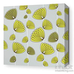 Floating Lotus in Silver and Grass Stretched Wall Art