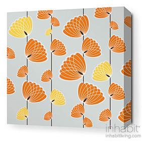 Floating Lotus in Silver and Sunshine Stretched Wall Art