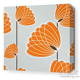 Lotus in Silver and Sunshine Stretched Wall Art