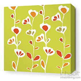 Stencil in Pear and Rust Stretched Wall Art