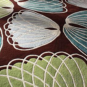 Lotus in Chocolate & Cornflower Wool Area Rug