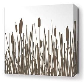 Cattails in Chocolate Stretched Wall Art