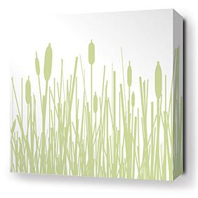 Cattails in Celery Stretched Wall Art