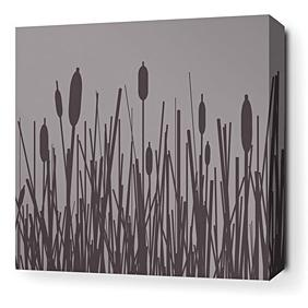 Cattails in Mineral Stretched Wall Art