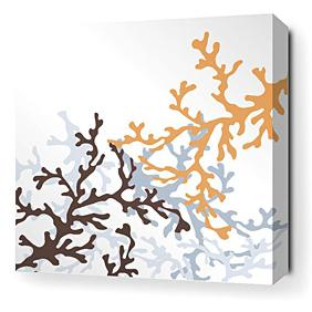 Coral in Aqua Stretched Wall Art