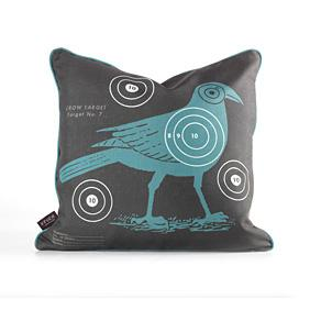 Crow Bullseye in Cornflower Pillow