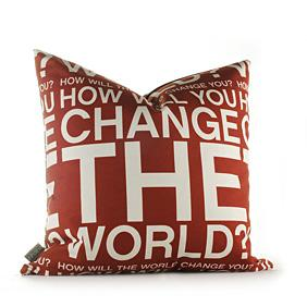 Change the World in Scarlet Pillow