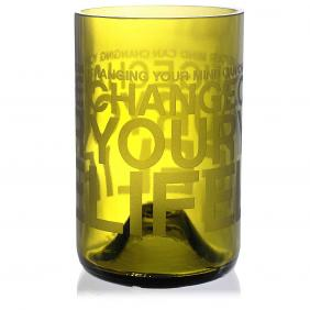 Change Your Life Green Drinking Glass