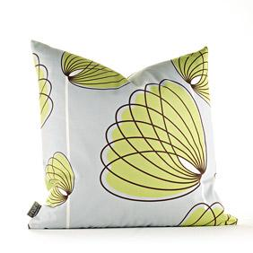 Lotus in Silver and Grass Pillow