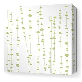 Pussy Willows in White and Celery Stretched Wall Art