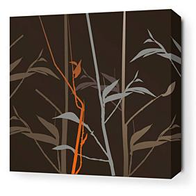 Tall Grass in Charcoal and Rust Stretched Wall Art