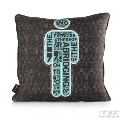 AM 1  in Cornflower Pillow Modern Handprinted Graphic Pillow, Made in the USA