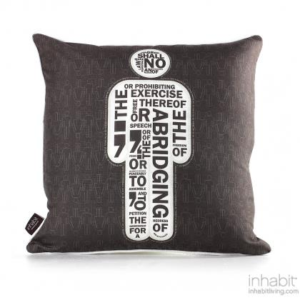 AM 1  in Natural & Soy Pillow Modern Handprinted Graphic Pillow, Made in the USA