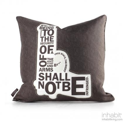 AM 2  in Natural & Soy Pillow Modern Handprinted Graphic Pillow, Made in the USA