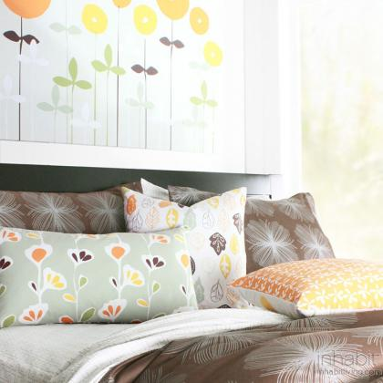 Aequorea in Chocolate and Silver Duvet and Sham set