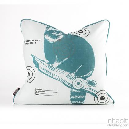 Coon Bullseye in Cornflower Pillow Modern Handprinted Graphic Pillow, Made in the USA