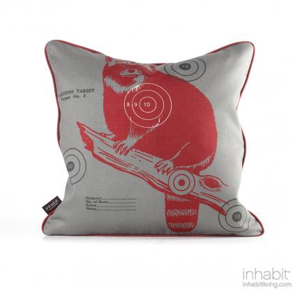 Coon Bullseye in Scarlet Pillow Modern Handprinted Graphic Pillow, Made in the USA