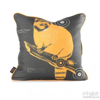 Coon Bullseye in Sunshine Pillow Modern Handprinted Graphic Pillow, Made in the USA
