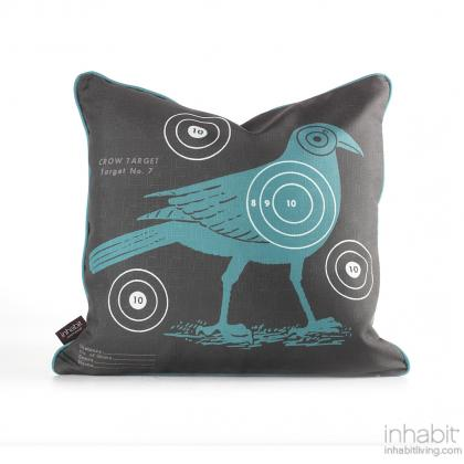 Crow Bullseye in Cornflower Pillow Modern Handprinted Graphic Pillow, Made in the USA