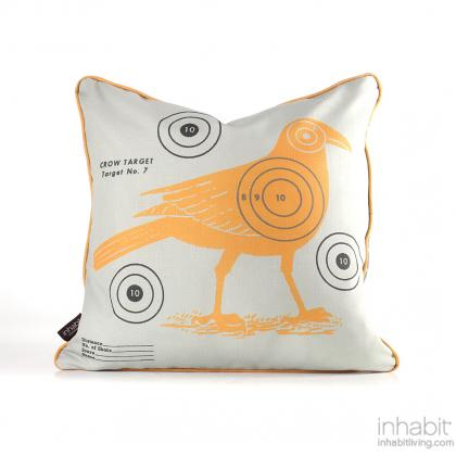 Crow Bullseye in Sunshine Pillow Modern Handprinted Graphic Pillow, Made in the USA