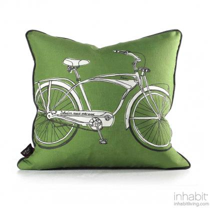 Cruise in Kelly Pillow Modern Handprinted Graphic Pillow, Made in the USA