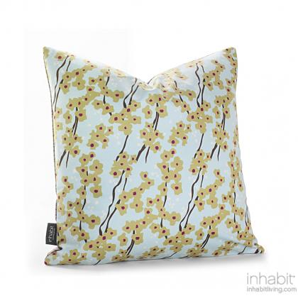 Flowering Pyrus in Cornflower Pillow Modern Handprinted Graphic Pillow, Made in the USA
