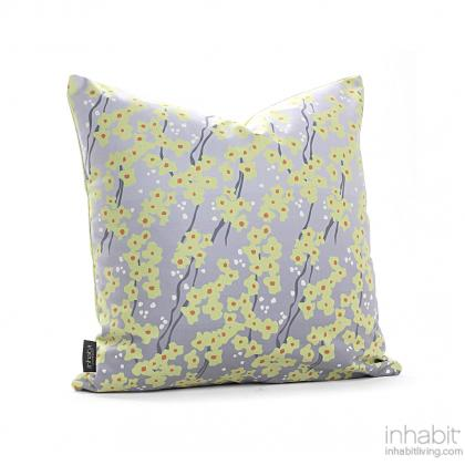 Flowering Pyrus in Gray Pillow Modern Handprinted Graphic Pillow, Made in the USA
