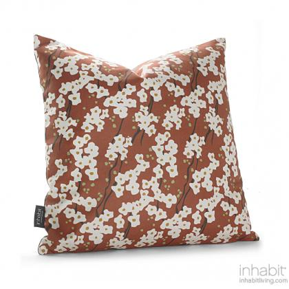 Flowering Pyrus in Rust Pillow Modern Handprinted Graphic Pillow, Made in the USA