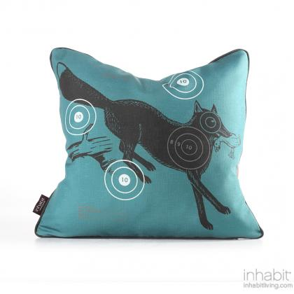 Fox Bullseye in Cornflower Pillow Modern Handprinted Graphic Pillow, Made in the USA