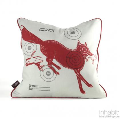 Fox Bullseye in Scarlet Pillow Modern Handprinted Graphic Pillow, Made in the USA