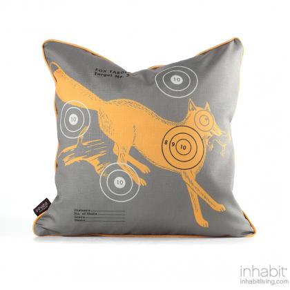 Fox Bullseye in Sunshine Pillow Modern Handprinted Graphic Pillow, Made in the USA