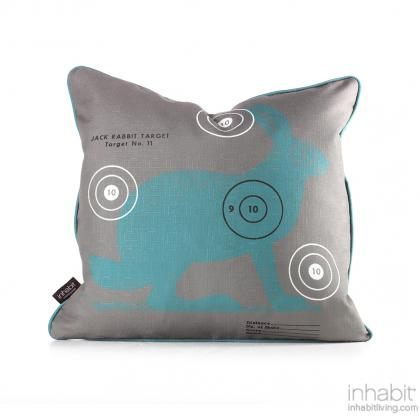 Jack Bullseye in Cornflower Pillow Modern Handprinted Graphic Pillow, Made in the USA
