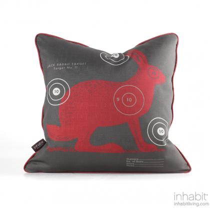 Jack Bullseye in Scarlet Pillow Modern Handprinted Graphic Pillow, Made in the USA