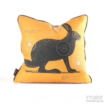 Jack Bullseye in Sunshine Pillow Modern Handprinted Graphic Pillow, Made in the USA
