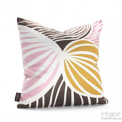 Leaf in Blush and Sunshine Pillow Modern Handprinted Graphic Pillow, Made in the USA