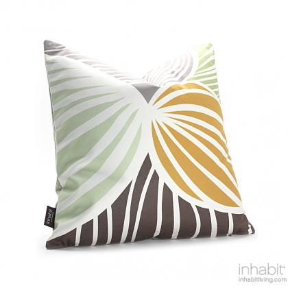 Leaf in Grass and Butterscotch Pillow Modern Handprinted Graphic Pillow, Made in the USA