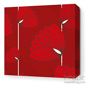 Lotus in Scarlet Stretched Wall Art
