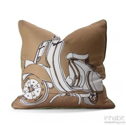 Moto in Camel & Grass Pillow Modern Handprinted Graphic Pillow, Made in the USA