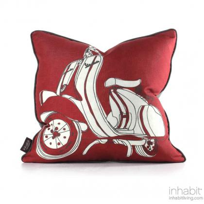 Moto in Scarlet Green Pillow Modern Handprinted Graphic Pillow, Made in the USA