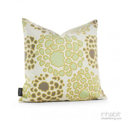 Mum in Grasss and Butterscotch Pillow Modern Handprinted Graphic Pillow, Made in the USA