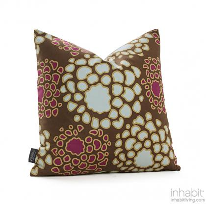 Mum in Plum and Cornflower Pillow Modern Handprinted Graphic Pillow, Made in the USA