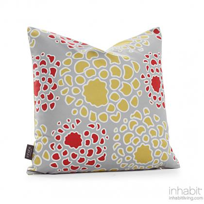Mum in Scarlett and Mustard Pillow Modern Handprinted Graphic Pillow, Made in the USA
