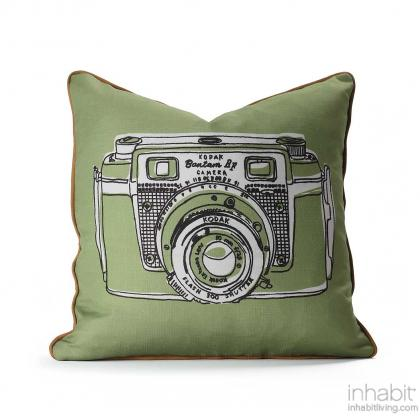 Shutter in Hazelnut & Apricot Pillow Modern Handprinted Graphic Pillow, Made in the USA