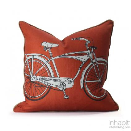 Cruise in Persimmon & Camel Pillow Modern Handprinted Graphic Pillow, Made in the USA