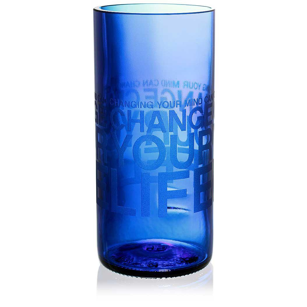 Change Your Life Blue Drinking Glass