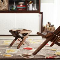 Stencil in Natural & Scarlet Hand-Tufted Wool Rug