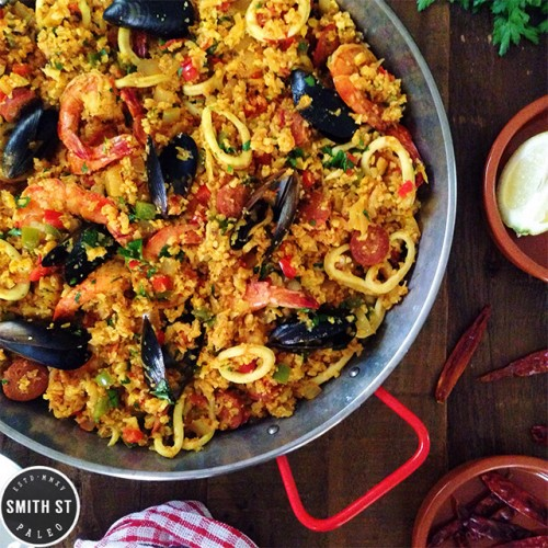 Paleo Seafood Paella with logo