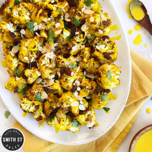 Paleo Spiced Roast Cauliflower with Turmeric Dressing