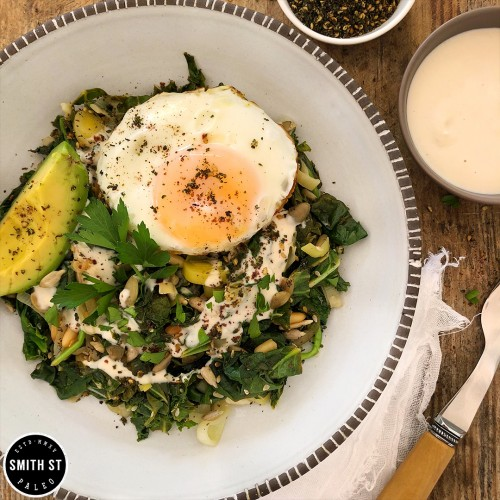 Paleo Greens & Seeds Breakfast Bowl