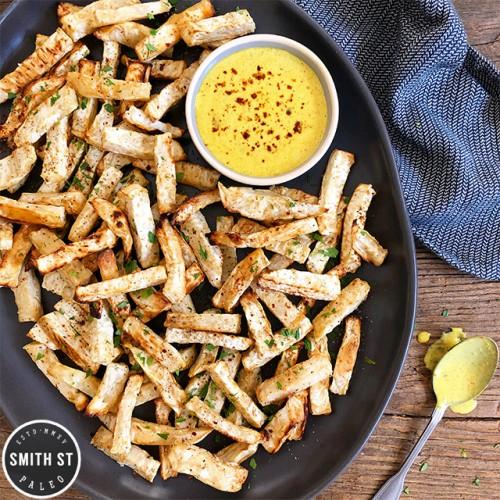Paleo Celeriac Fries with Curry Lime Aioli